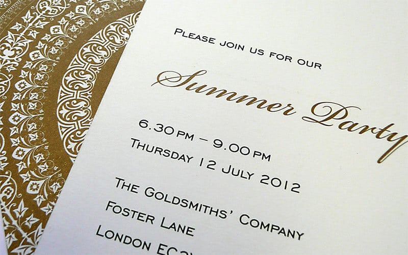 Invitation to the Goldsmith's Company Summer Party