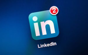 LinkedIn icon on a smartphone