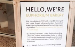 Tesco in-store sign for Euphorium Bakery