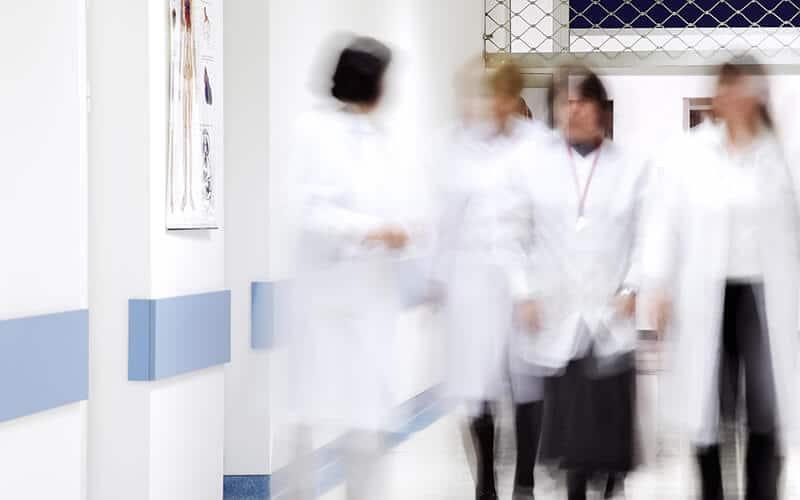 Doctors in a hospital corridor