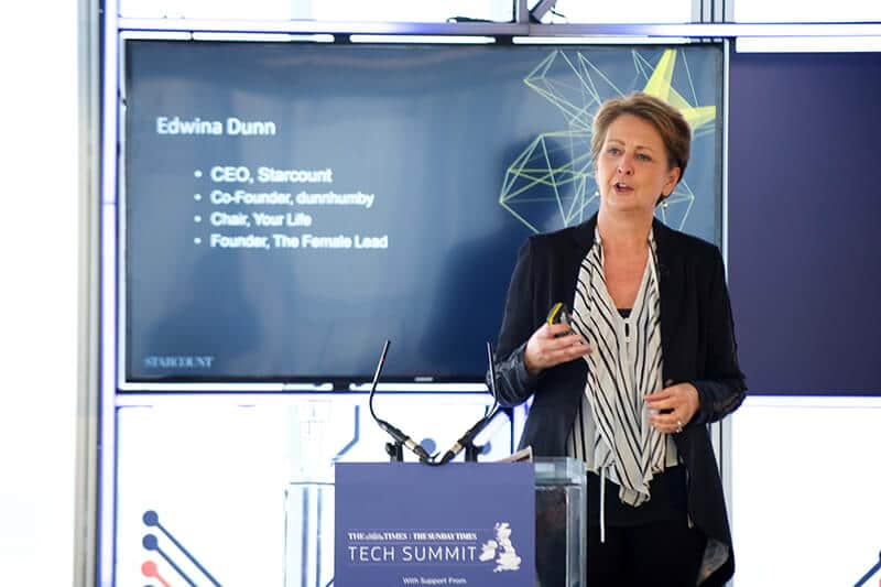 Edwina Dunn, Founder of The Female Lead, at The Times/Sunday Times Inaugural Tech Summit, London, November 2017