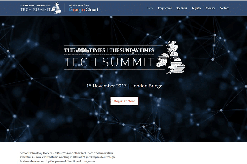 Page from the website for The Times/Sunday Times Inaugural Tech Summit, London, November 2017